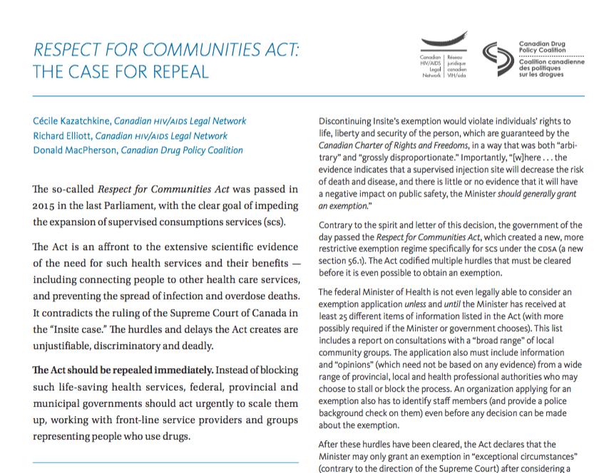 Full Report Respect for Communities Act: