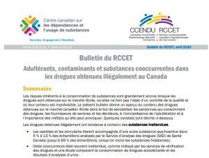 Adultérants, contaminants et substances cooccurrentes dans les drogues obtenues illégalement au Canada