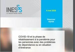 Screen shot - Réponse rapide - COVID-19 et la phase de rétablissement à la pandémie pour les personnes avec des problèmes de dépendance ou en situation d'itinérance