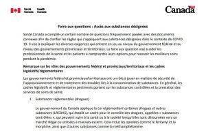 Screen shot - Foire aux questions : Accès aux substances désignées
