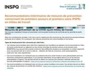 Screen shot - Recommandations intérimaires de mesures de prévention concernant les premiers secours et premiers soins (PSPS) en milieu de travail