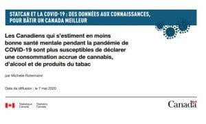 Screen Shot Les Canadiens qui s'estiment en moins bonne santé mentale pendant la pandémie de COVID-19 sont plus susceptibles de déclarer une consommation accrue de cannabis, d'alcool et de produits du tabac