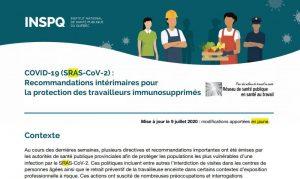 COVID-19 (SRAS-CoV-2) : Recommandations intérimaires pour la protection des travailleurs immunosupprimés