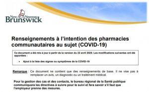 Renseignements à l'intention des pharmacies communautaires au sujet (COVID-19)
