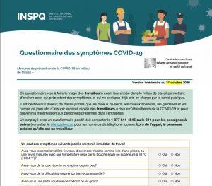 Questionnaire des symptômes COVID-19